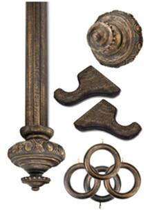 Antique Bronze Wooden Curtain Hardware