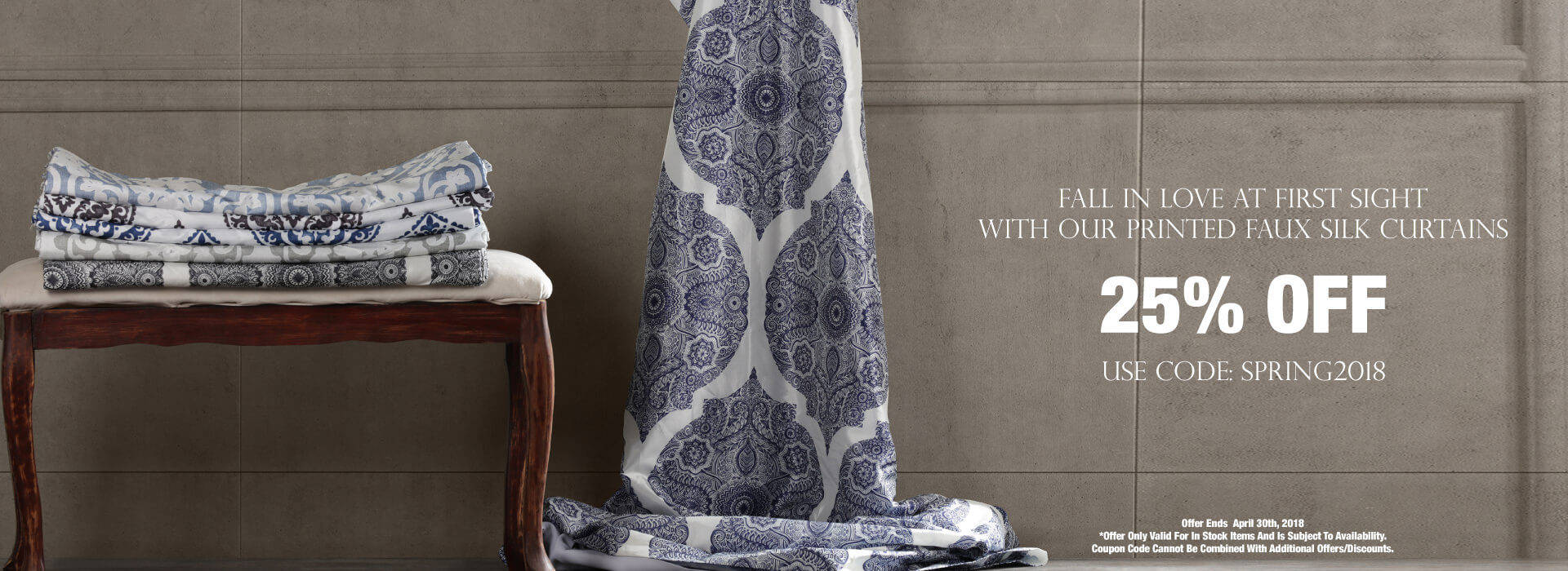 Printed Faux Silk Curtains - 25% OFF