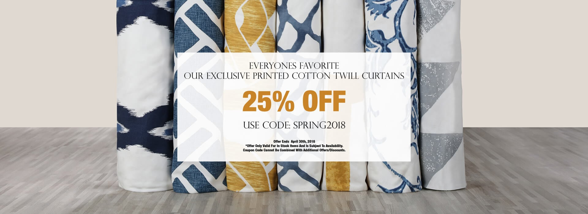 Printed Cotton Twill Curtains - 25% OFF