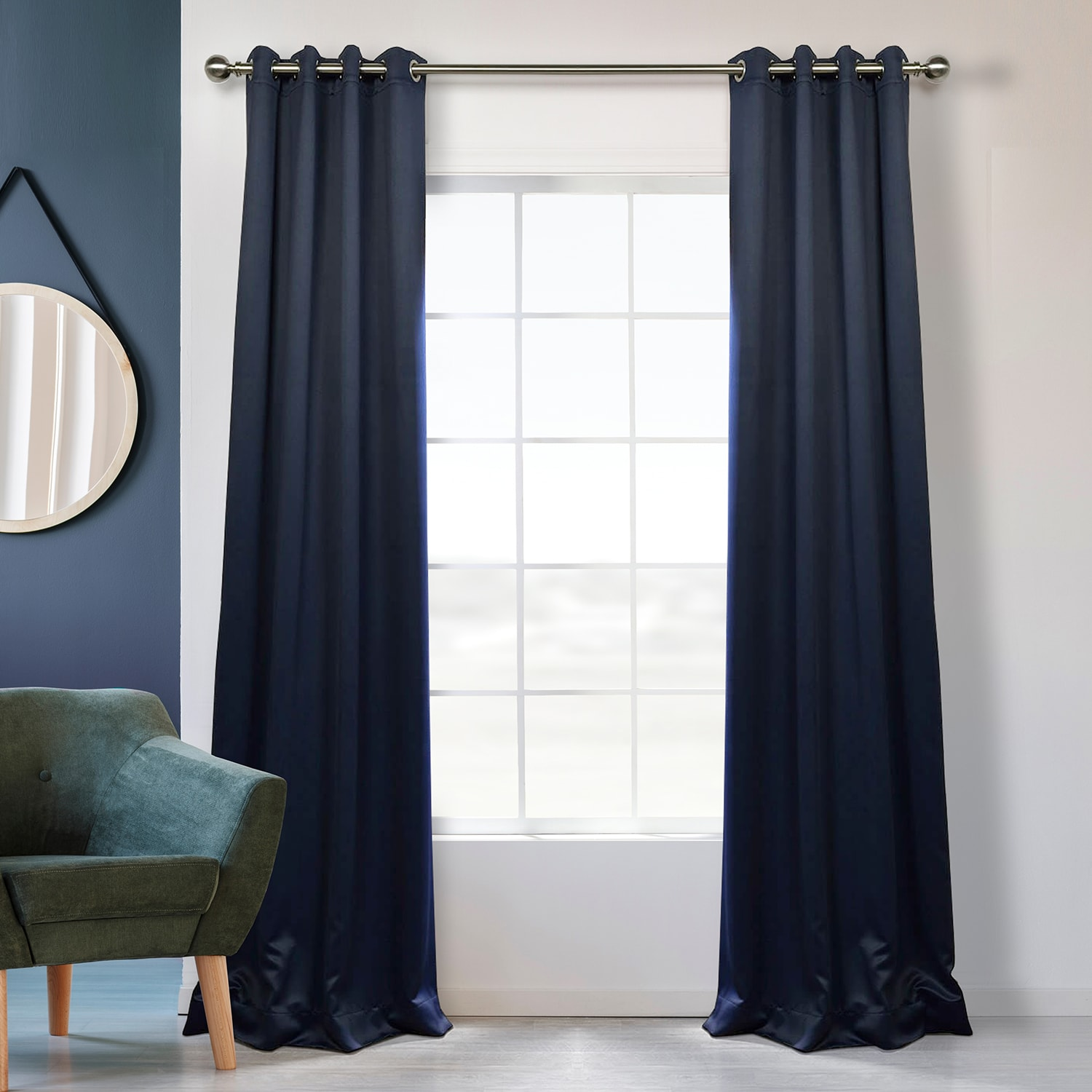 Navy Blue Grommet Blackout Room Darkening Curtain