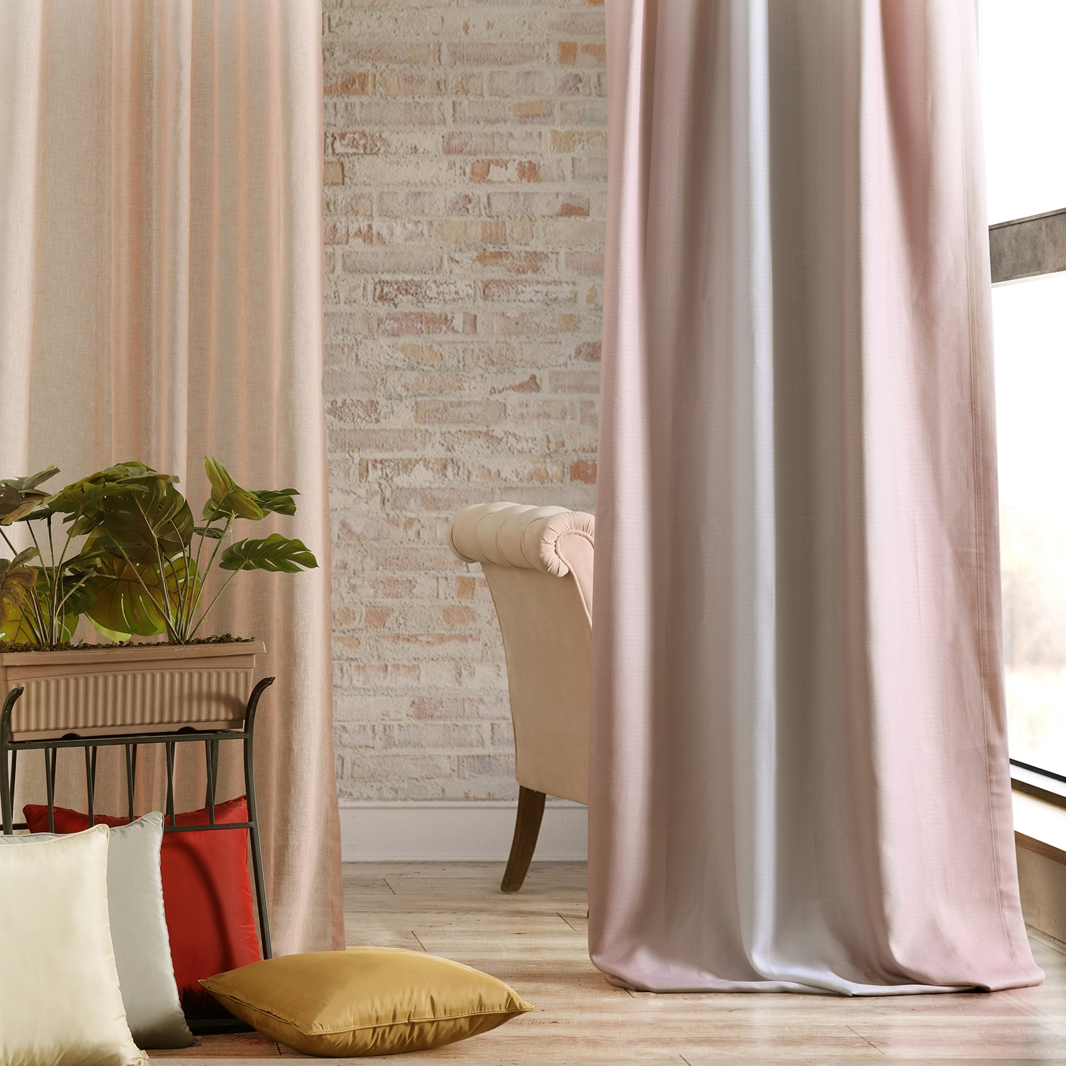 Parallel Pink Printed Linen Textured Blackout Curtain
