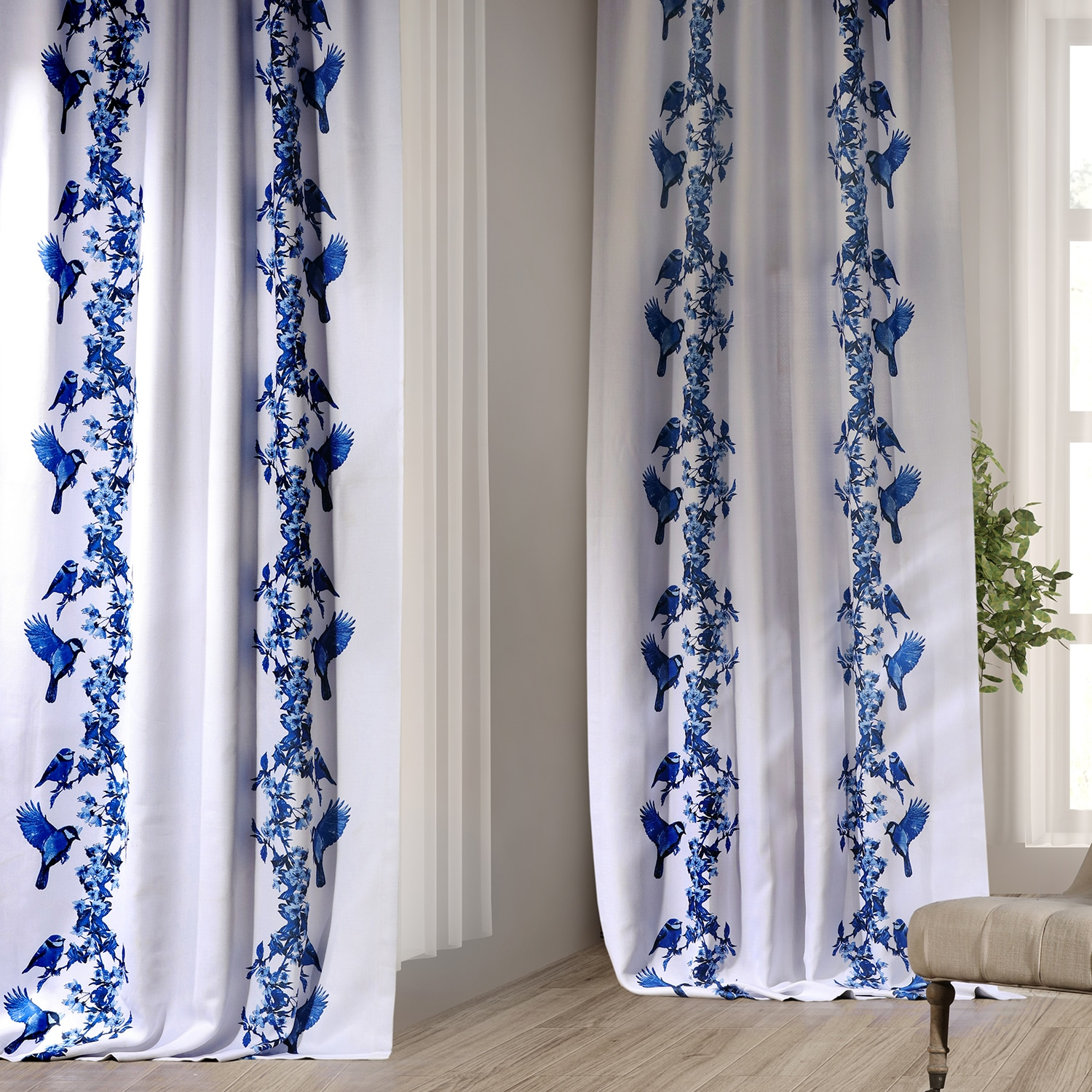 Sparrow Blue Printed Linen Textured Blackout Curtain