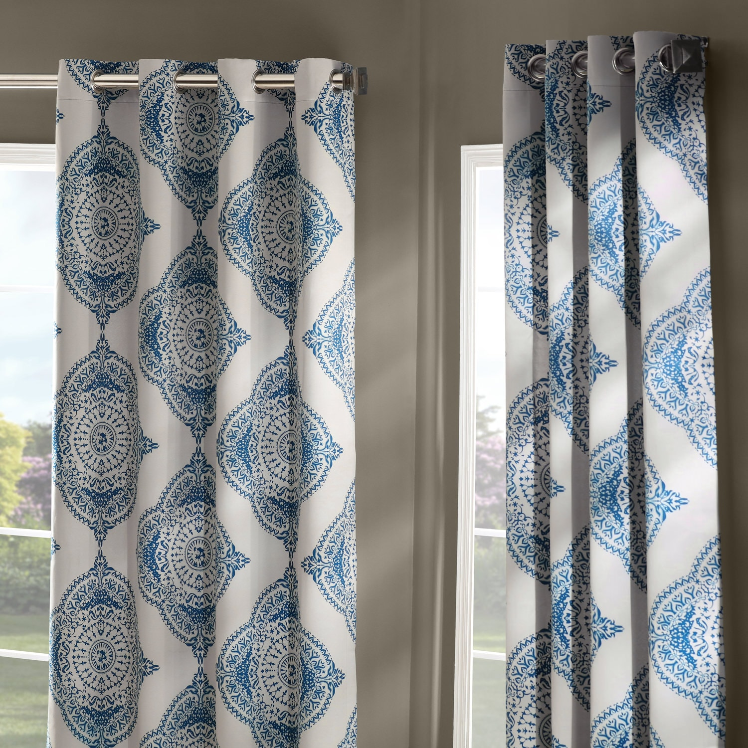 Henna Blue Grommet Blackout Room Darkening Curtain