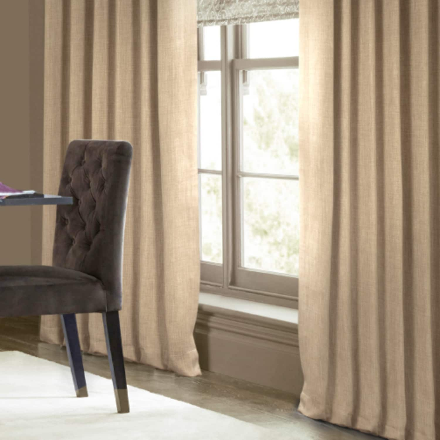 Millet Faux Linen Blackout Room Darkening Curtain