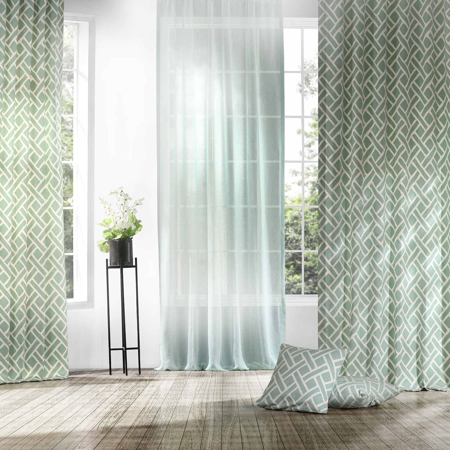 Martinique Aqua Printed Cotton Curtain