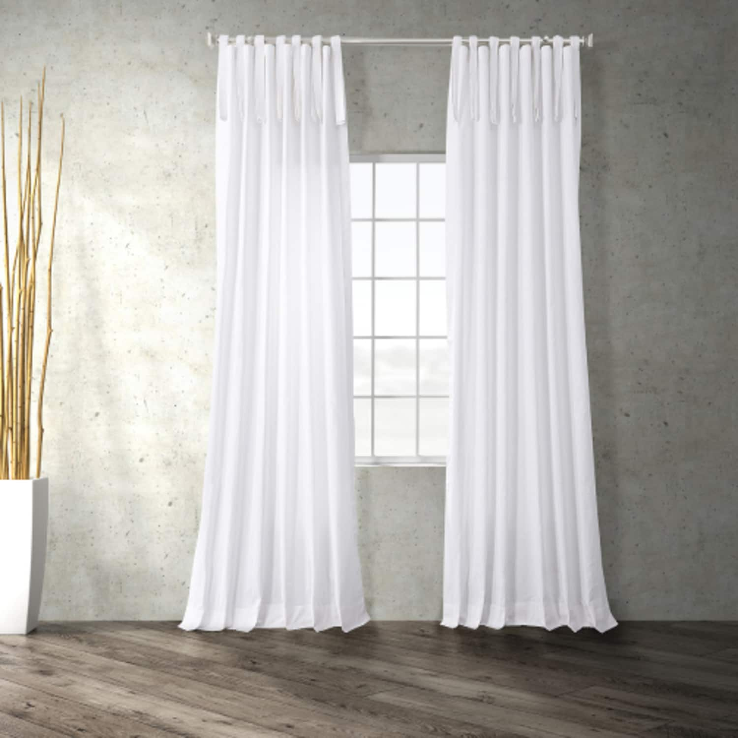 Whisper White Solid Cotton Tie-Top Curtain