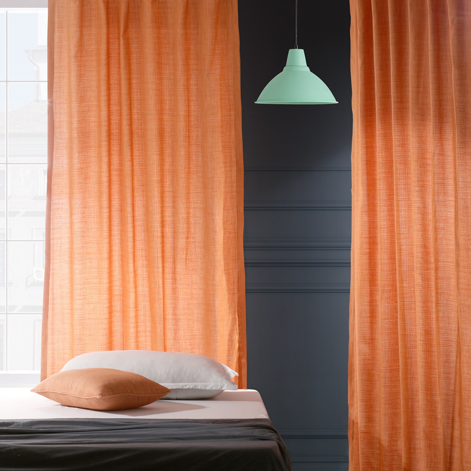 Monarch Orange Designer Shantung Faux Silk Curtain