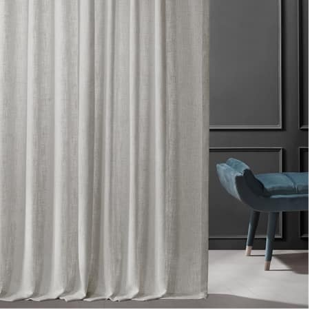 Bliss White Belgian Heavy Faux Linen Curtain