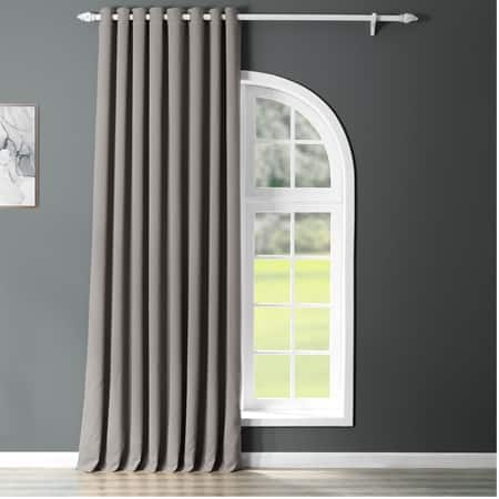 Neutral Grey Grommet Extra Wide Blackout Room Darkening Curtain