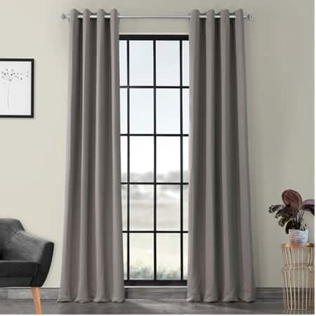 Neutral Grey Grommet Room Darkening Curtain