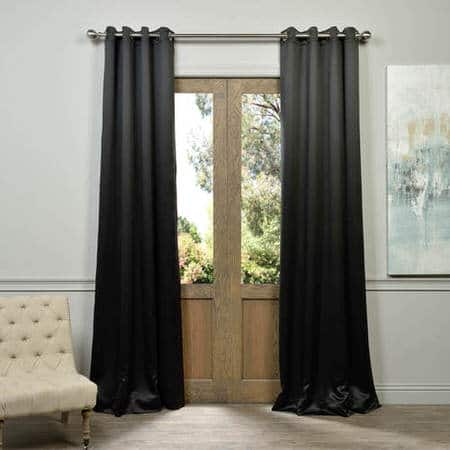 Jet Black Grommet Room Darkening Curtain