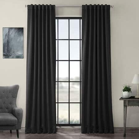 Jet-Black Pole Pocket Room Darkening Curtain