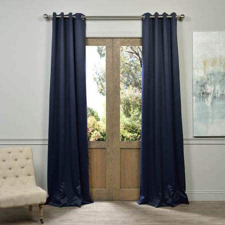 Navy Blue Grommet Room Darkening Curtain