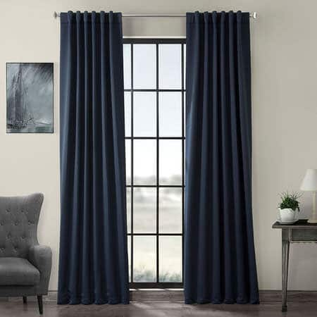 Navy Blue Pole Pocket Blackout Room Darkening Curtain