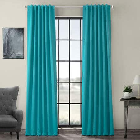 Turquoise Blue Pole Pocket Room Darkening Curtain