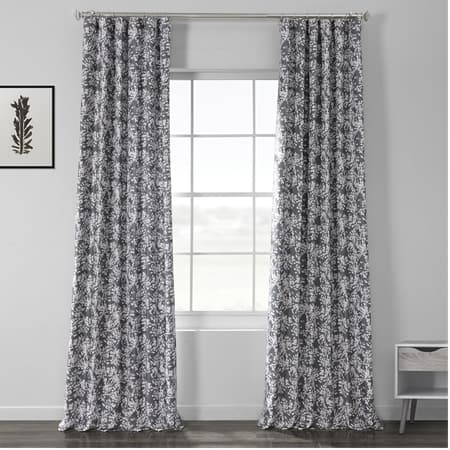 Botanic Grey Printed Linen Textured Blackout Curtain