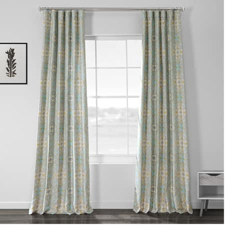 Camille Sky Blue Printed Linen Textured Blackout Curtain