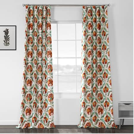 Tribeca Hibiscus Printed Linen Textured Blackout Curtain