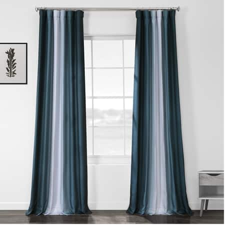 Parallel Teal Printed Linen Textured Blackout Curtain