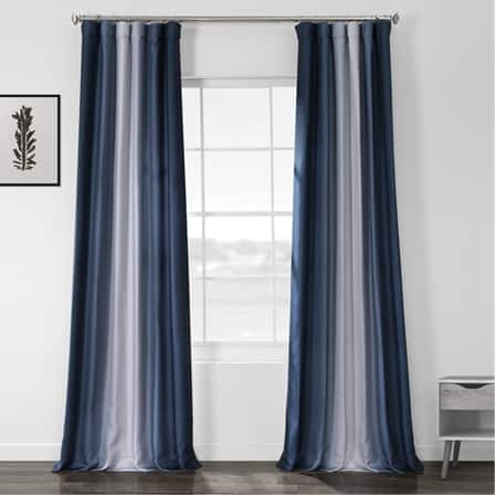 Parallel Blue Printed Linen Textured Blackout Curtain