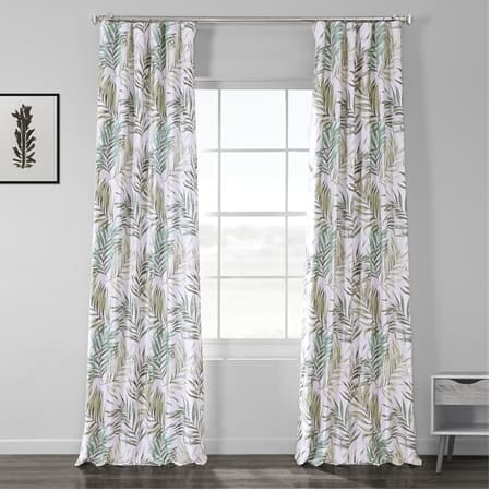 Palms Green Printed Linen Textured Blackout Curtain