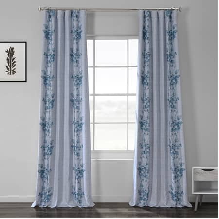 Copenhagen Blue Printed Linen Textured Blackout Curtain