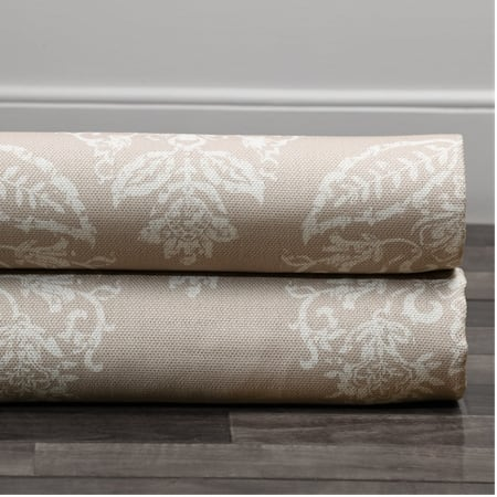Istanbul Tan Printed Linen Textured Blackout Swatch