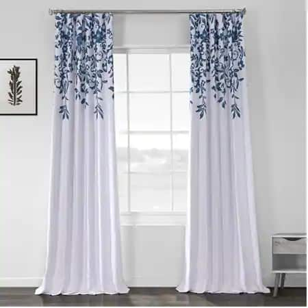 Temple Garden Blue Printed Linen Textured Blackout Curtain