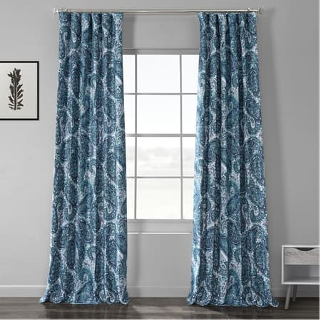 Naples Aqua Blue Printed Linen Textured Blackout Curtain