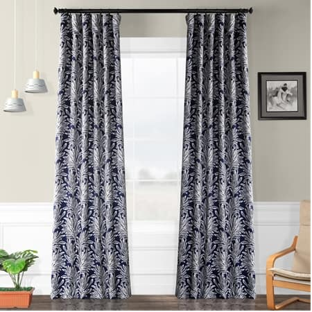 Flora Navy Room Darkening Curtain