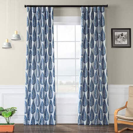 Medallion Blue Blackout Room Darkening Curtain