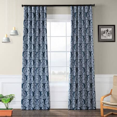 Woodcut Navy Room Darkening Curtain