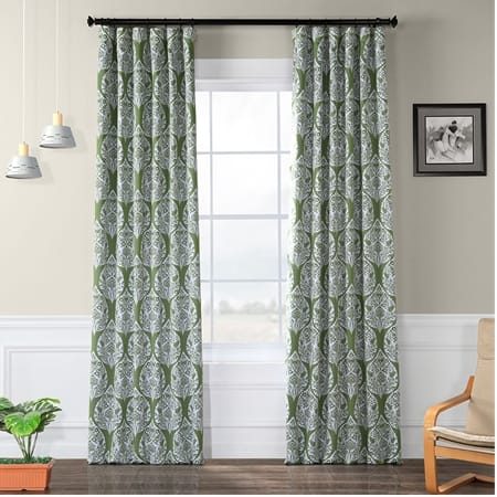 Woodcut Green Blackout Curtain