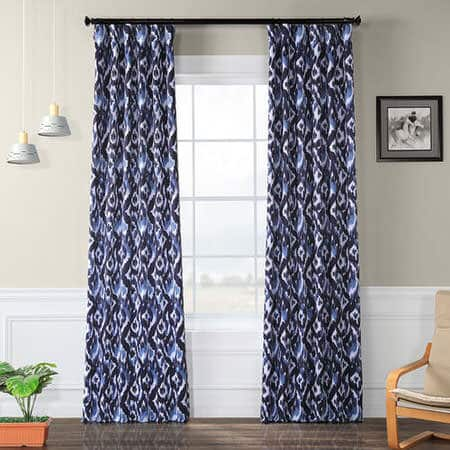 Bukhara Blue Blackout Room Darkening Curtain