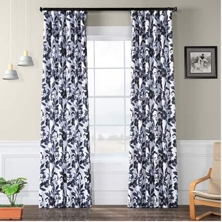 Hibiscus Blue Room Darkening Curtain
