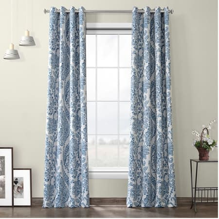 Tea Time China Blue Grommet Blackout Room Darkening Curtain