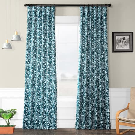 Abstract Teal Room Darkening Curtain