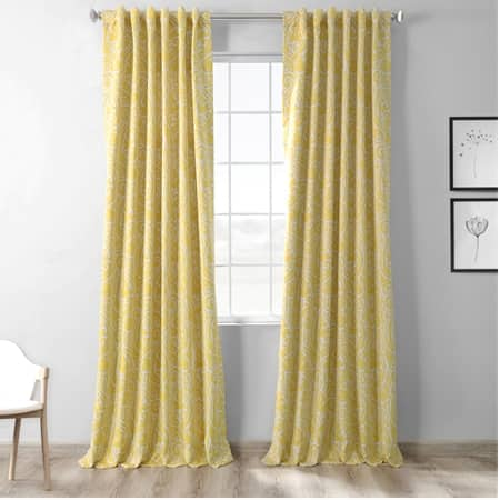 Abstract Misted Yellow Blackout Room Darkening Curtain