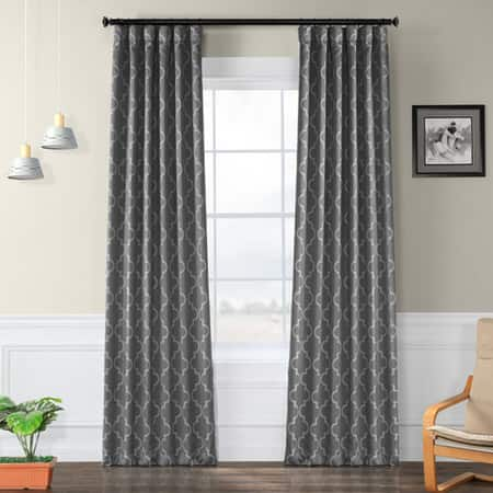 Seville Grey & Silver Room Darkening Curtain