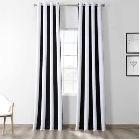 Awning Black & Fog White Stripe Grommet Blackout Room Darkening Curtain