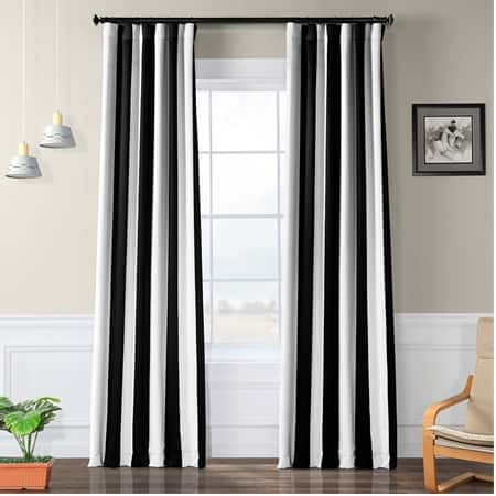 Awning Black & White Stripe Blackout Room Darkening Curtain