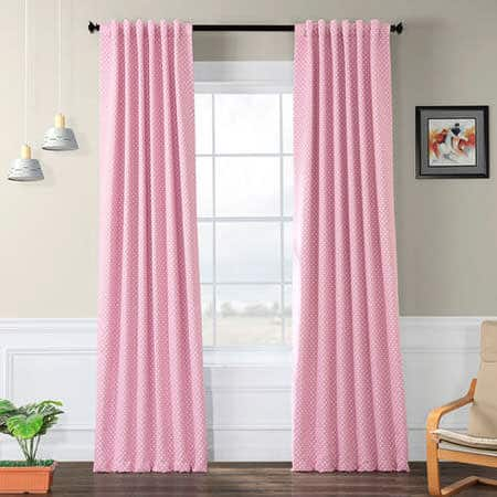 Pink Polka Dot Room Darkening Curtain
