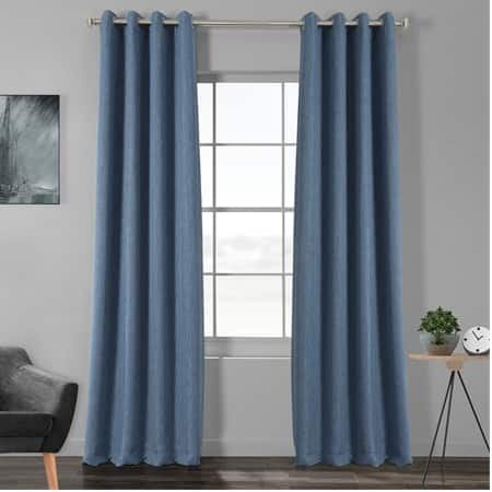 Denim Faux Linen Grommet Blackout Room Darkening Curtain
