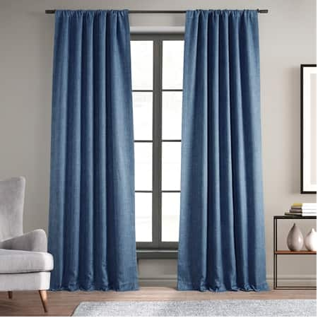 Denim Faux Linen Room Darkening Curtain