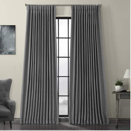 Blazer Grey Faux Linen Extra Wide Blackout Room Darkening Curtain