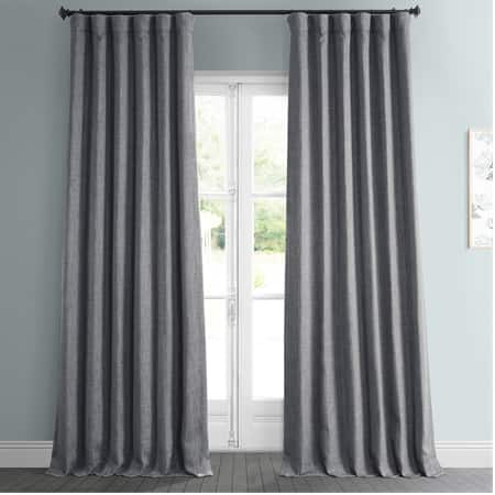 Blazer Grey Faux Linen Room Darkening Curtain