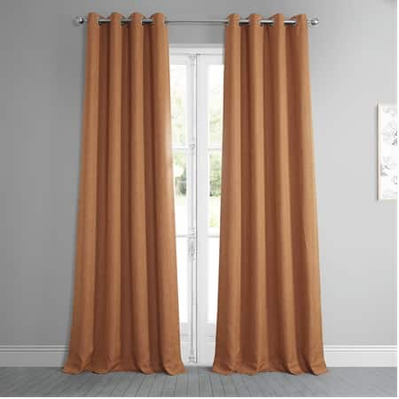 Desert Orange Faux Linen Grommet Blackout Room Darkening Curtain