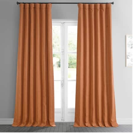 Desert Orange Faux Linen Blackout Room Darkening Curtain