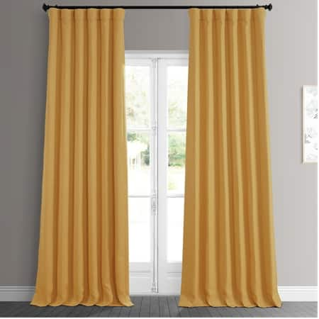 Dandelion Gold Faux Linen Blackout Room Darkening Curtain