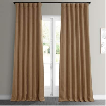 Butterscotch Faux Linen Blackout Room Darkening Curtain